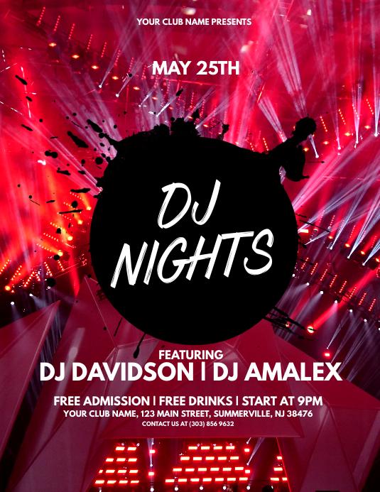 DJ Nights Flyer Pamflet (Letter AS) template