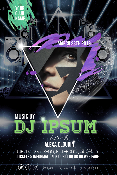 DJ Party Event Night Flyer Poster template