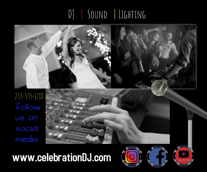 DJ sound lighting events party weddings celeb Mellemstort rektangel template