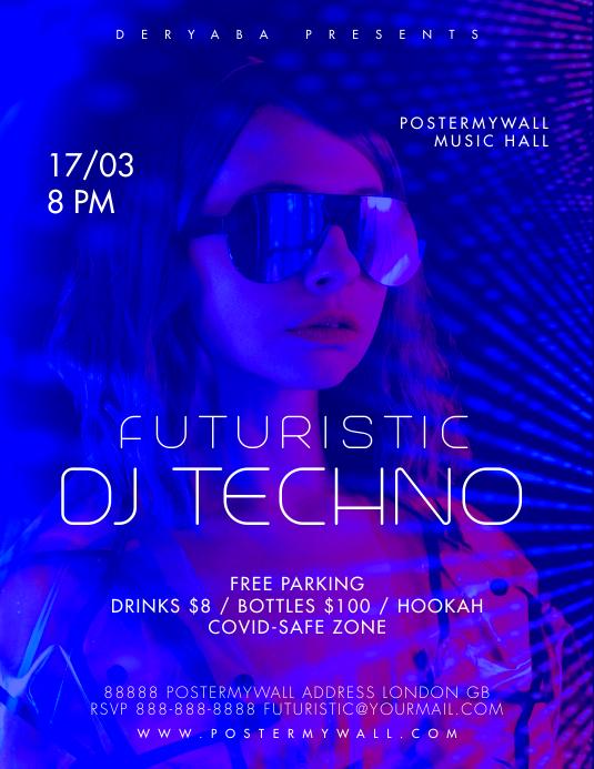 DJ Techno Futuristic Flyer Template