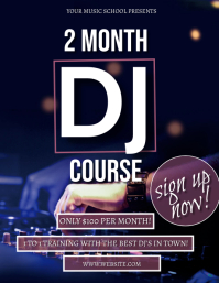 DJ Training course school Flyer Template Volante (Carta US)