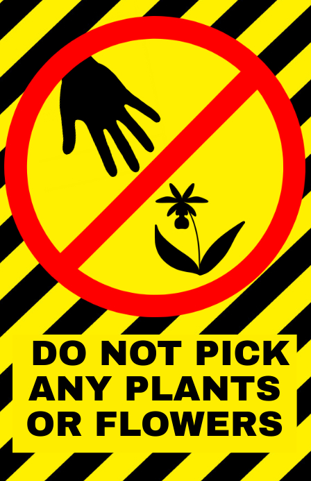 do not pick flowers or plants- warning attention alert sign
