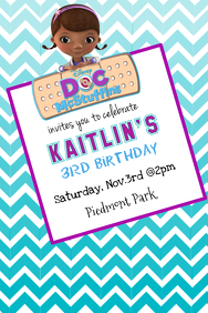 Customizable design templates for doc mcstuffins birthday party doc mcstuffins invitation stopboris Image collections