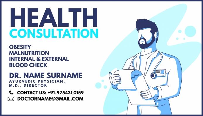 Doctor Consultation Card Template Cartão de visita