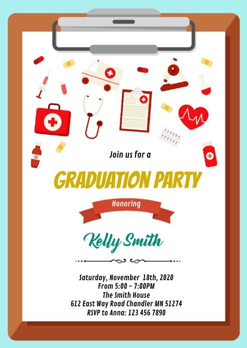 Doctor nurse graduation party invitation A6 template