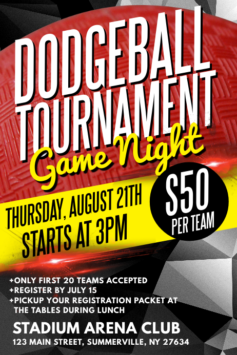 Dodgeball Tournament Poster Template Postermywall
