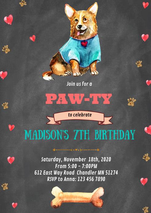 Dog birthday party invitation