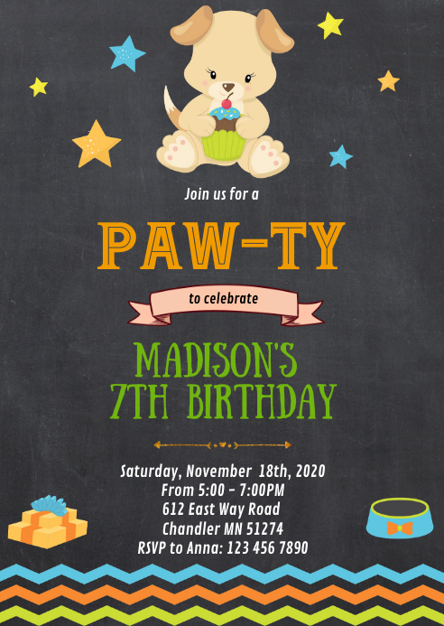 Dog birthday party invitation A6 template