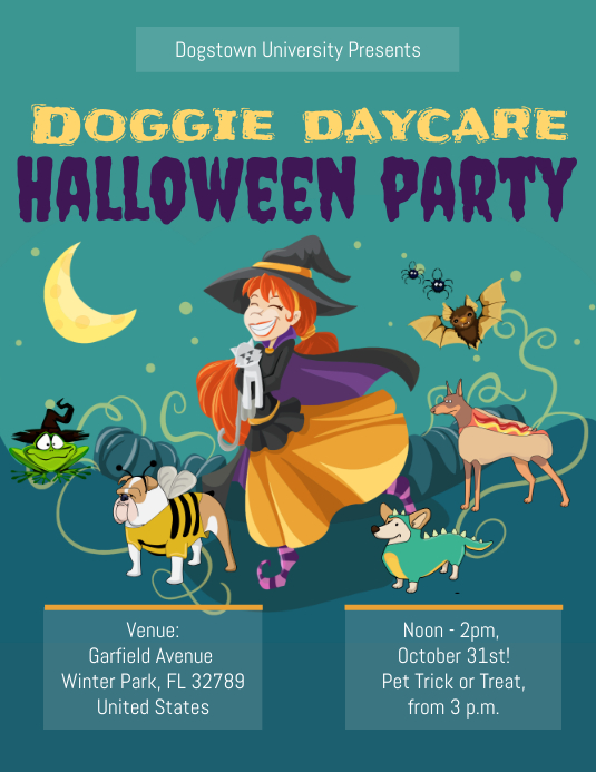 Dog Daycare Halloween Party Flyer Template ใบปลิว (US Letter)