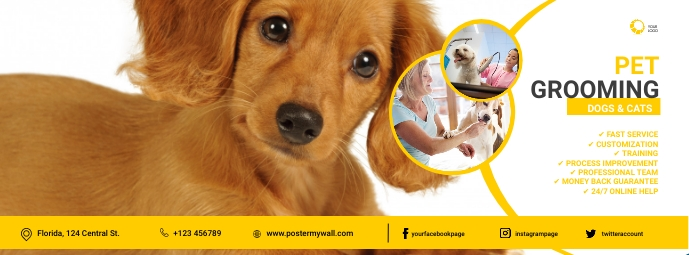 Dog Grooming Facebook Cover Template