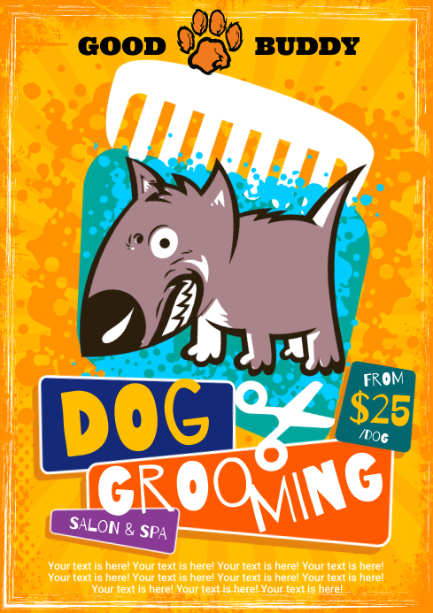 DOG GROOMING POSTER A4 template