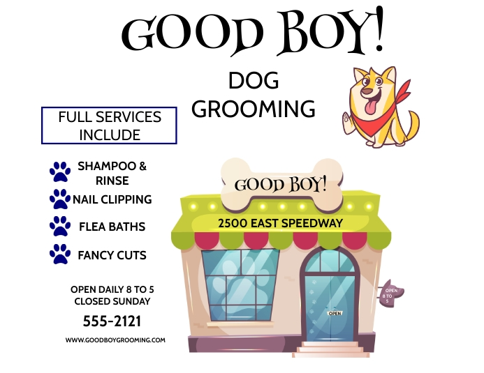 DOG GROOMING SERVICE Flyer (US Letter) template