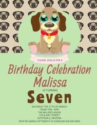 DOG Kids Birthday Party Invitation Template Volante (Carta US)