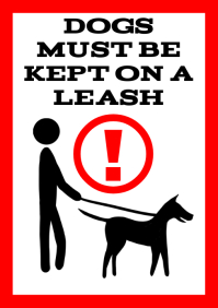 dog on a leash - dogs must be kept - label