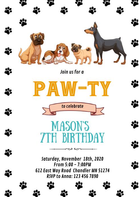 Dog pet birthday party invitation