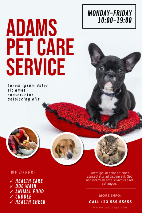 Dog Pet care wash service flyer template Плакат