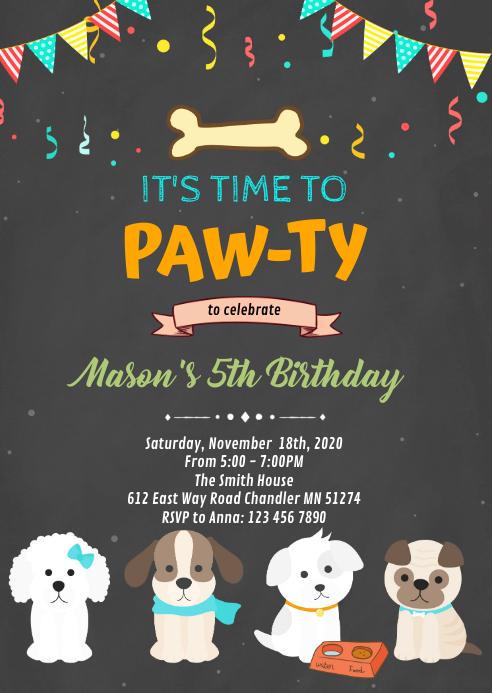 Dog puppy pet birthday invitation