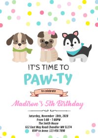Dog puppy pet birthday invitation A6 template