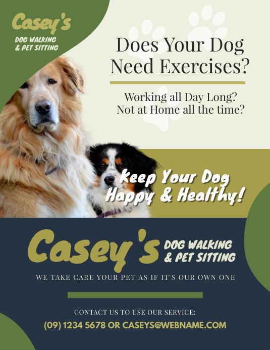 dog walker flyer customize template