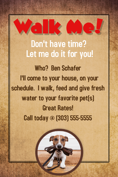 Dog walker groomer pet sitter flyer poster announcement for Dog walking flyer template free