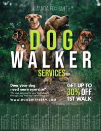 Dog Walker Service Flyer Design Tear-off Tabs