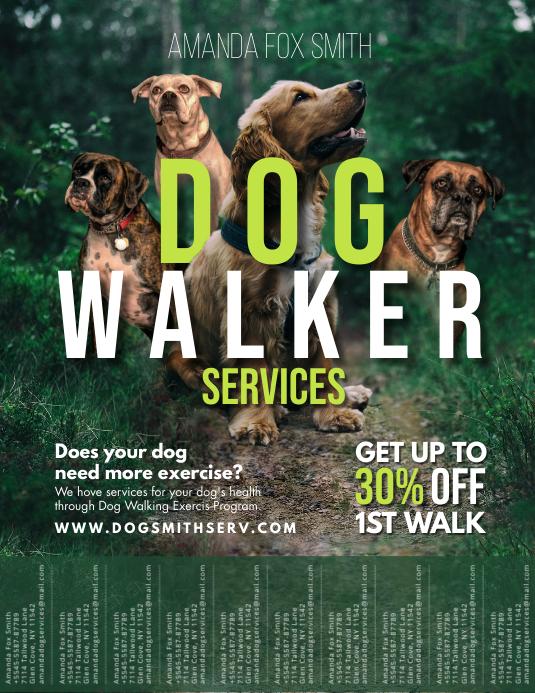 Dog Walker Service Flyer Design Tear-off Tabs template