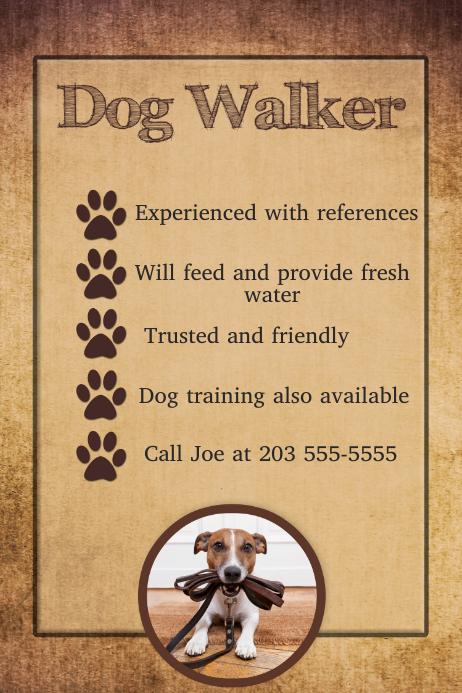 Dog Walker Trainer Sitter Flyer Poster Template