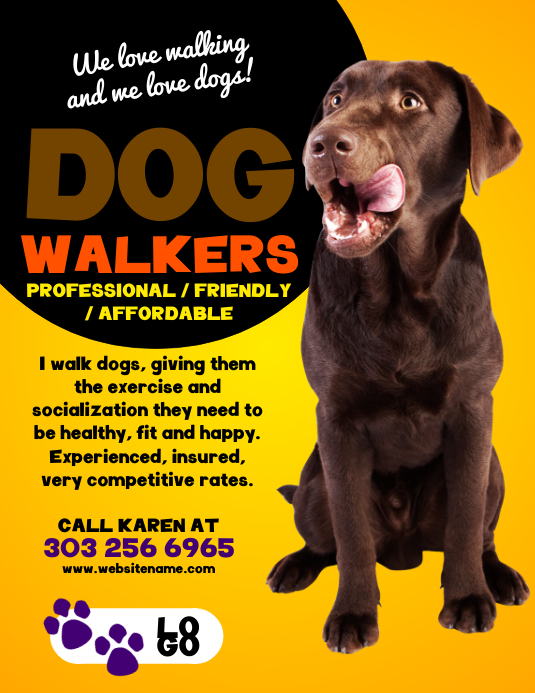 Dog walkers flyer template postermywall for Dog walking flyer template free