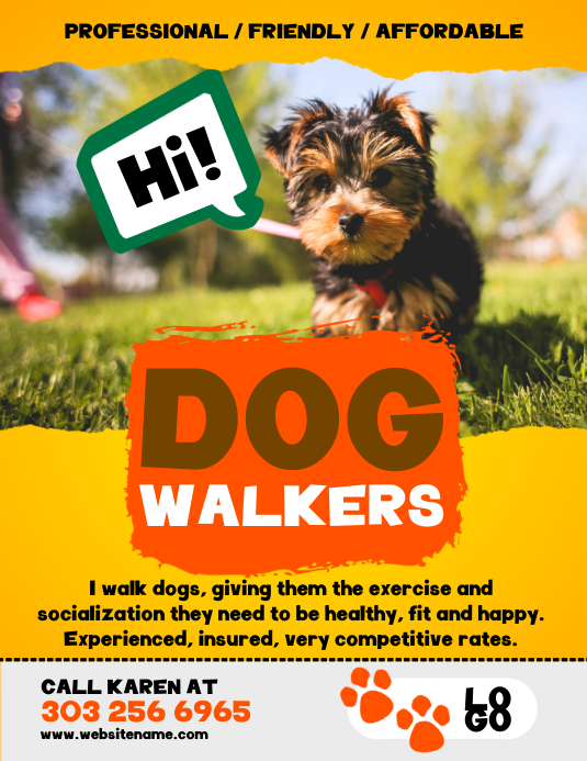 Dog Walkers Flyer Pamflet (Letter AS) template