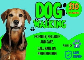 Dog Walking Postcard template
