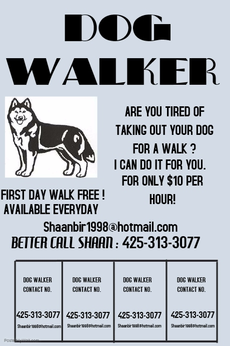 dog walking service poster template