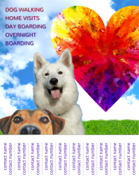 Dog walking sitting boarding service flyer