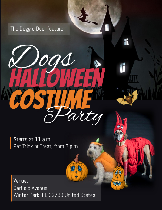 Dogs Halloween Costume Party Flyer ใบปลิว (US Letter) template