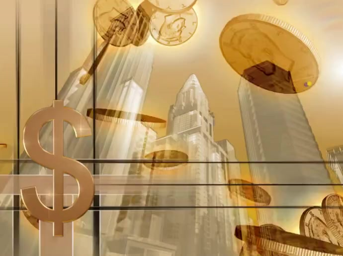 Dollar Coins Rotating in Wall Street 演示 template