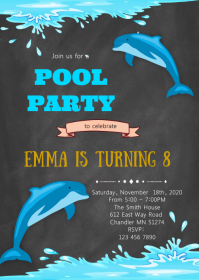 Dolphin birthday bparty invitation