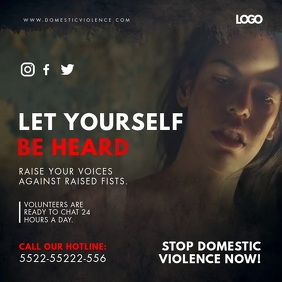 Domestic Abuse Help Line Video Ad Square (1:1) template