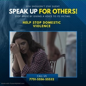Domestic Violence Call Help Line Ad Square (1:1) template