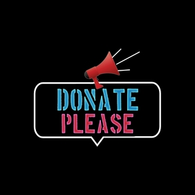 DONATE PLEASE Logo template