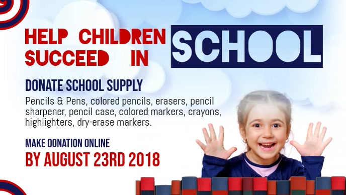 Donate School Supply Facebook Cover Video template