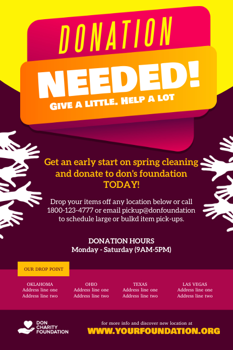 Donation Needed Charity Fundraiser Plakat template