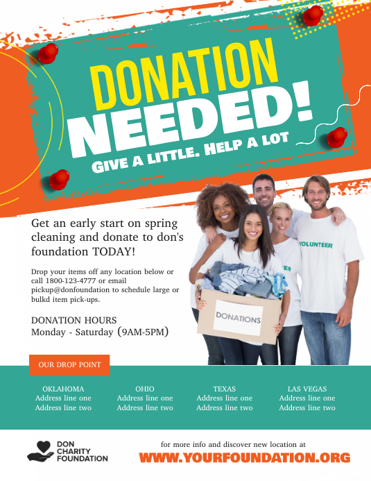Donation Needed Charity Fundraiser Flyer (US-Letter) template