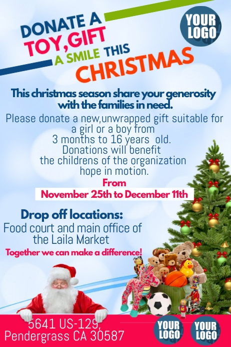 Donation Toy Drive Template Postermywall