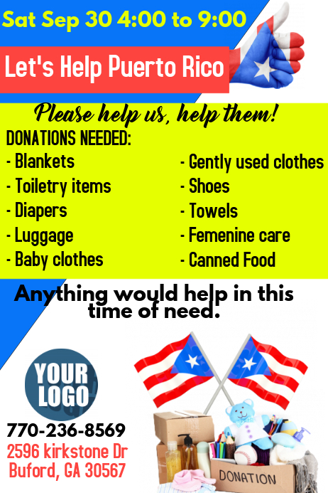 Food Pantry Flyer · Donations Puerto Rico  Can Food Drive Flyer Template
