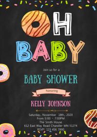 Donut baby shower invitation