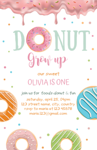 Donut Birthday Invitation template Half Page Wide