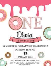 Donut Birthday invitation Template