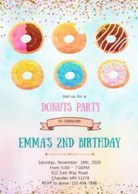 Donut birthday party invitation