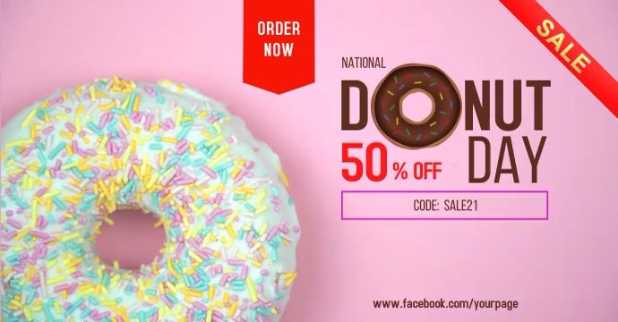 Donut Day Sale Facebook 广告 template