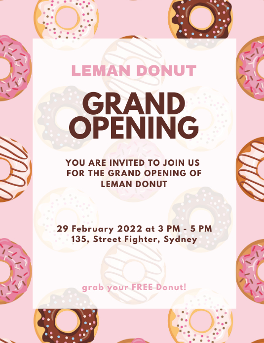 Donut Grand Opening Flyer Poster