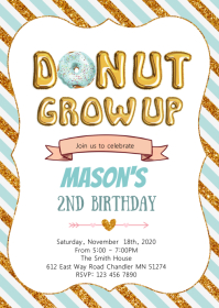 Donut grow up boy birthday invitation